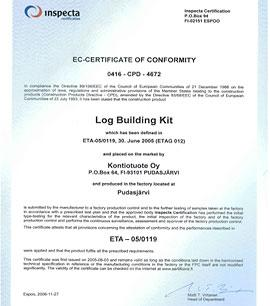 Quality Certificates for Kontio Log Houses and Constructions